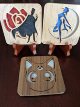Load image into Gallery viewer, Sailor Moon Tuxedo Mask Hand Cut Wooden Deskoration