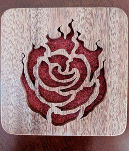 RWBY: Ruby Rose Emblem Hand Cut Wooden Deskoration