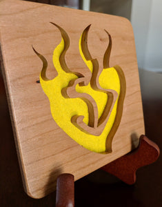 RWBY: Yang Xiao Long Emblem Hand Cut Wooden Deskoration