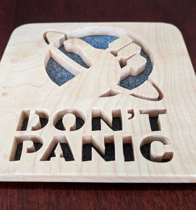 Hitchhiker's Guide Don't Panic! Hand Cut Wooden Deskorations
