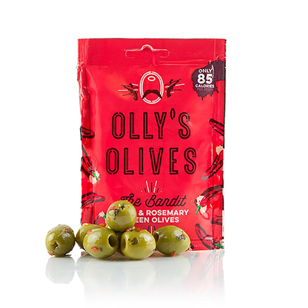 Olly's Olives The Bandit - Chilli & Rosemary Green Olives 30g