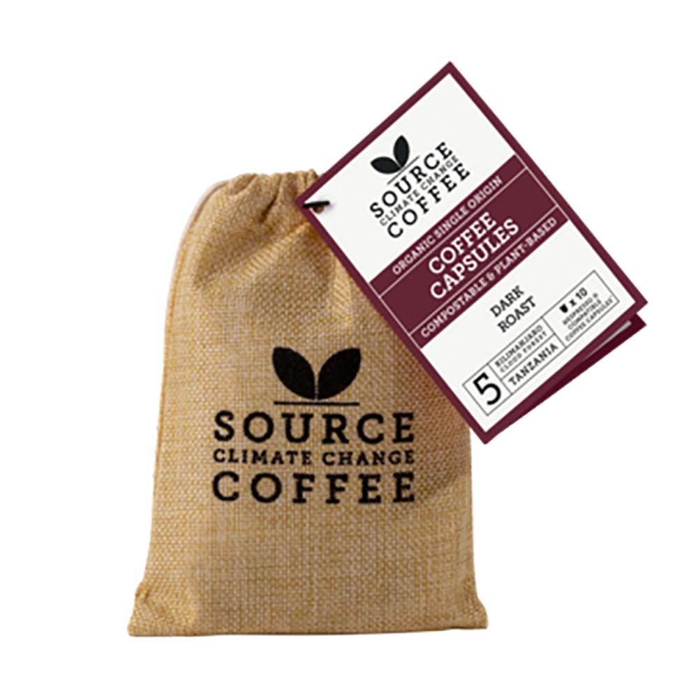 Source Climate Change Coffee: 10 Compostable Capsules Tanzania Kilimanjaro Cloud Forest Jute Bag