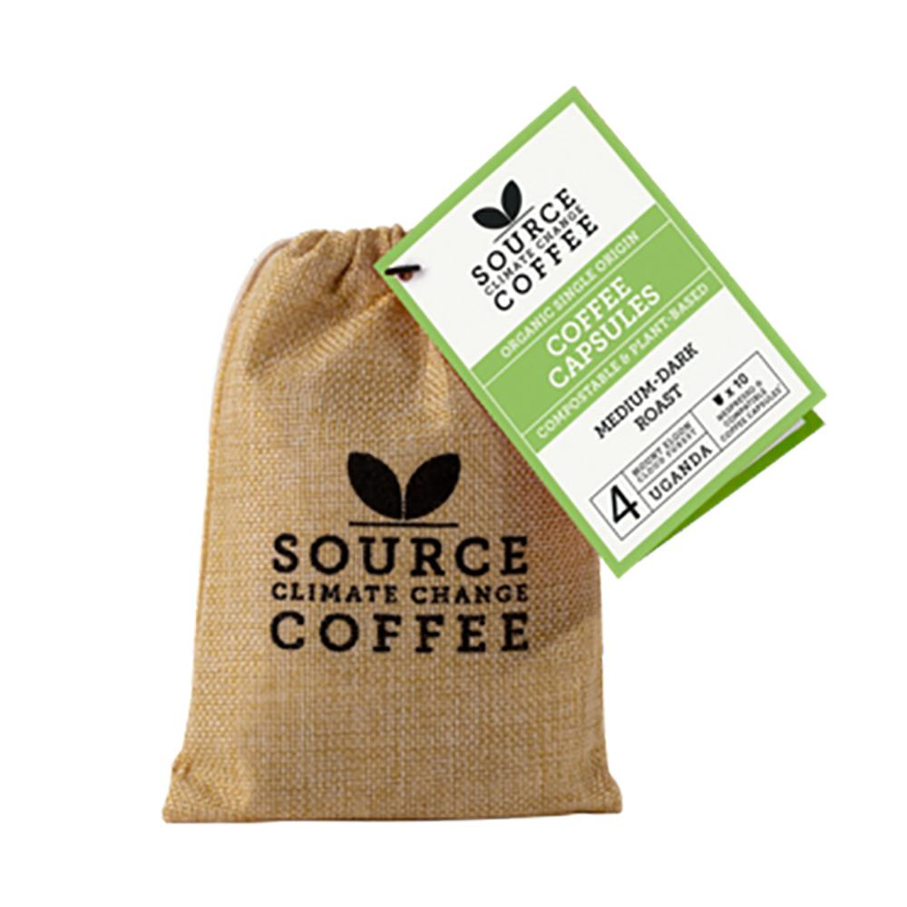 Source Climate Change Coffee: 10 Compostable Capsules Uganda Mount Elgon Forest Jute Bag