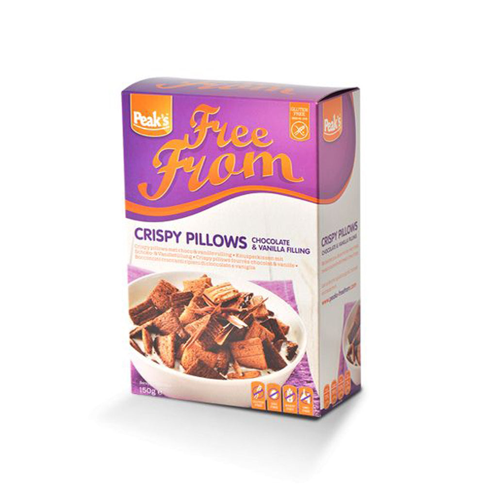 Peak's Free From Crispy Pillows with Chocolate & Vanilla Filling