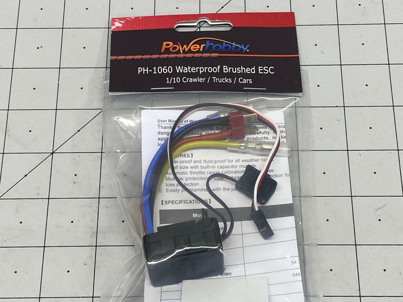 Power Hobby 1060 Brushed Waterproof ESC - w Deans Style T Connector