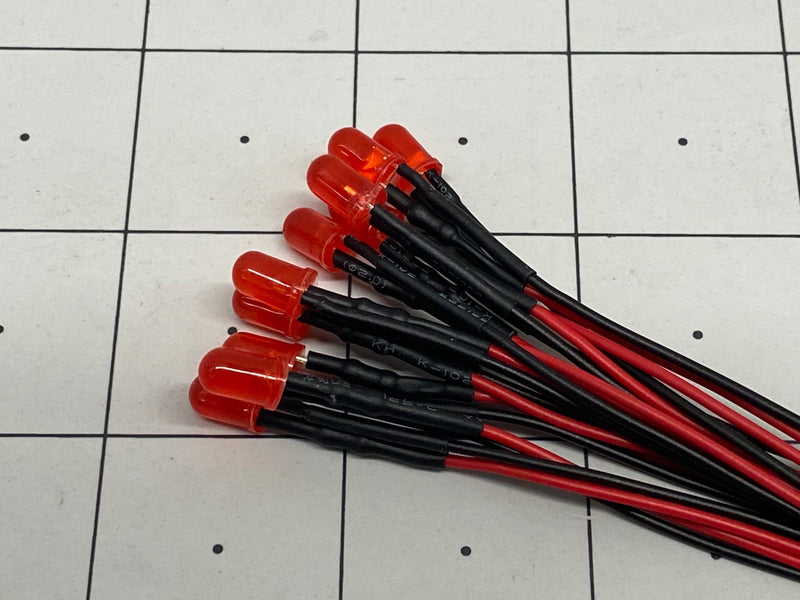 5mm Red LED w Resistor & Wire Leads, Pre-wired 10 pack