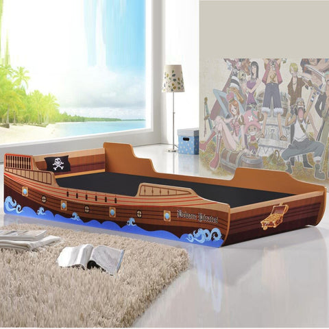 Fun Caribbean Pirate Ship Theme Single Children's Bed