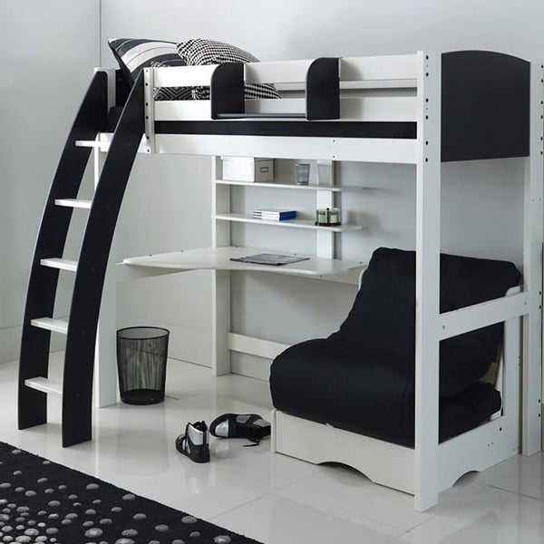 Kids Exclusive High Sleeper Bed with Desk & Black Futon Sofa Bed