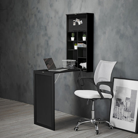 Pull Out Fold Away Wall Mounted Desk Table In Black