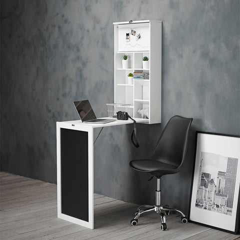Pull Out Fold Away Wall Mounted Desk Table In White