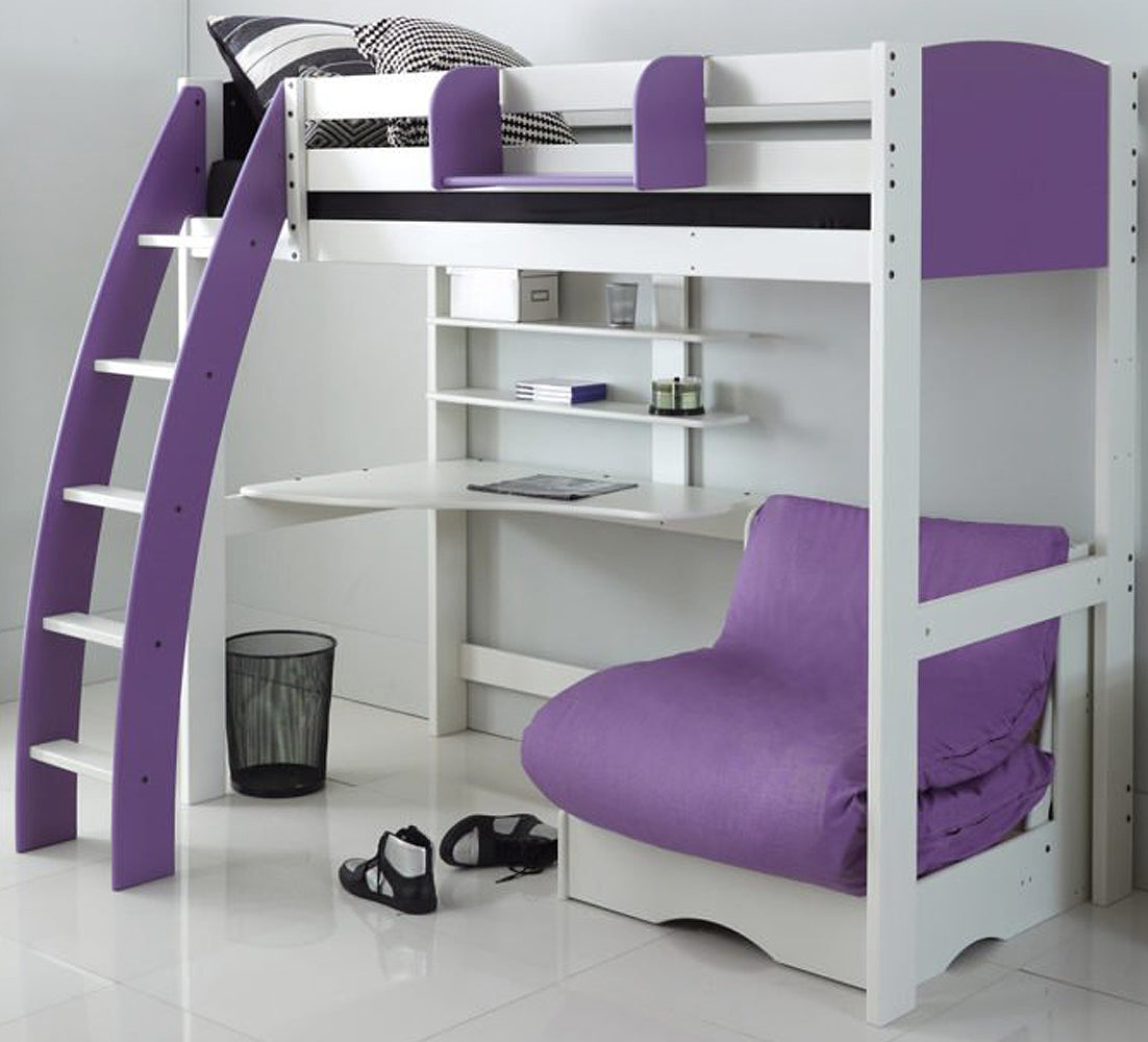 Kids Exclusive High Sleeper Bed with Desk & Lilac Futon Sofa Bed
