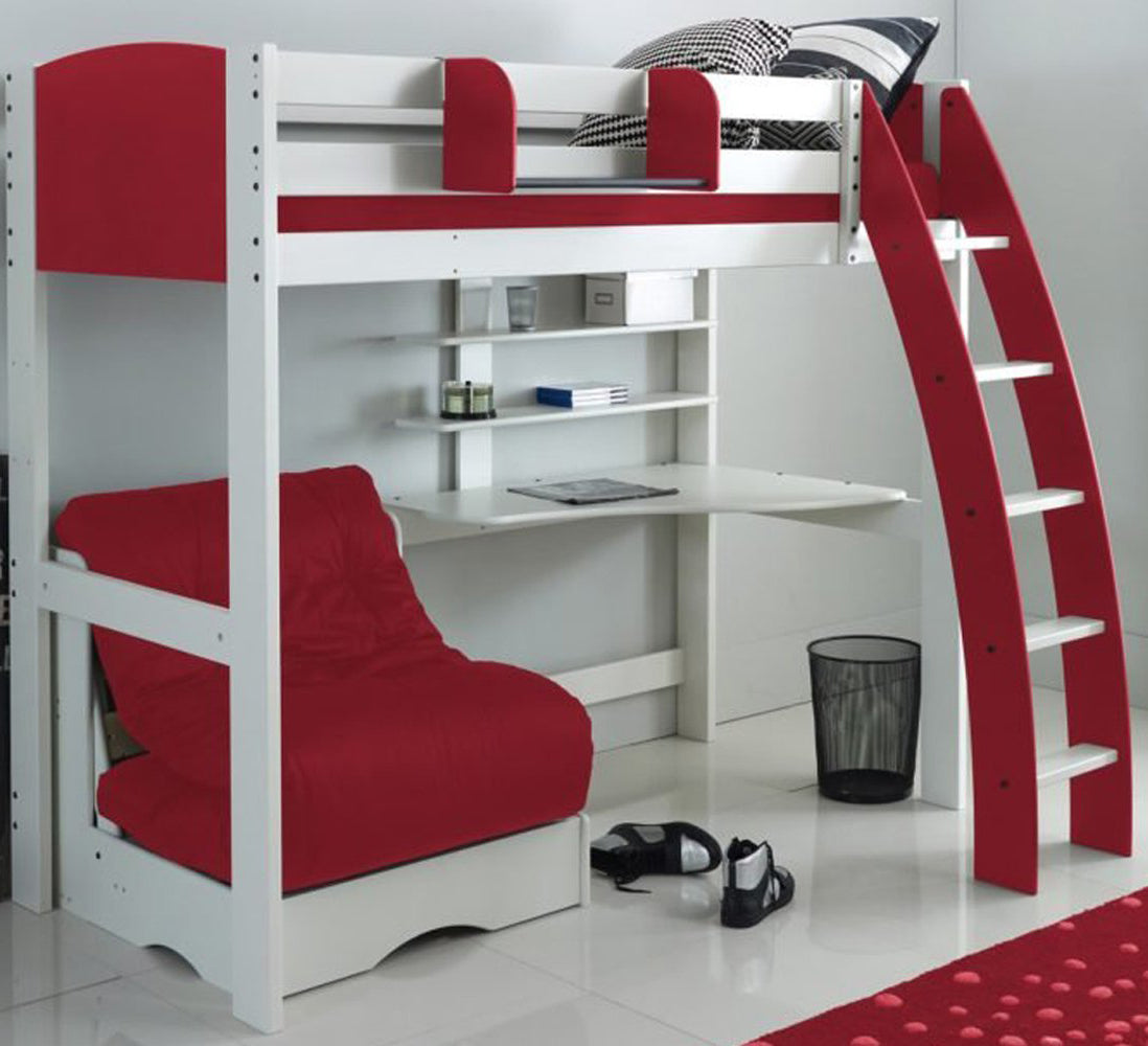 Kids Exclusive High Sleeper Bed with Desk & Red Futon Sofa Bed