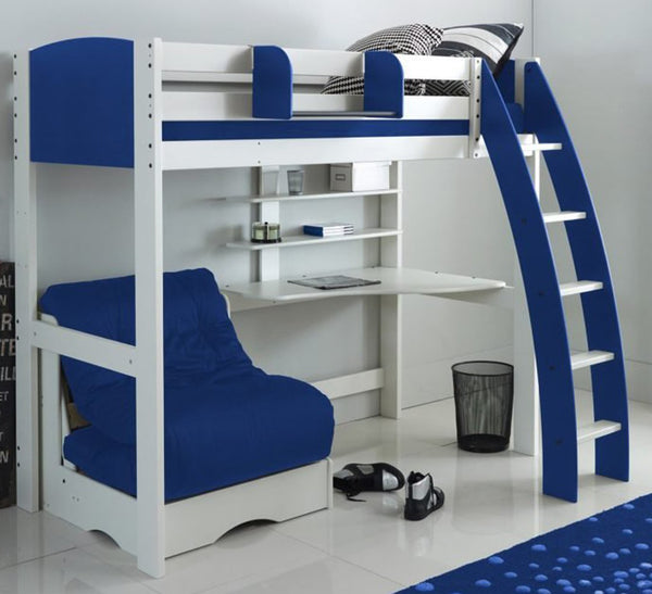 Kids Exclusive High Sleeper Bed with Desk & Blue Futon Sofa Bed