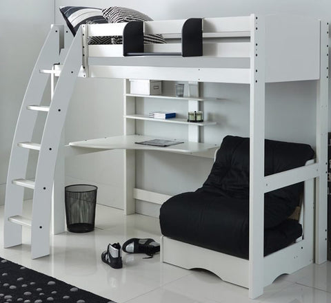 Kids Exclusive White High Sleeper Bed With Desk & Black Futon Sofa Bed