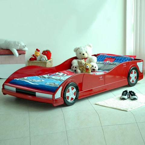 Movi Car Red Racing Car Theme Single Children's Bed