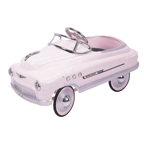 Pink Comet Pedal Sports Car in Metal & Chrome