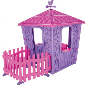 Stone House Garden Playhouse With Fence