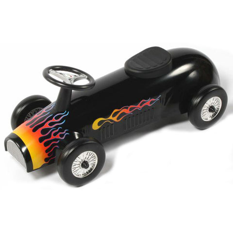 Retro Racer Metal Foot To Floor Ride On Speedster Black