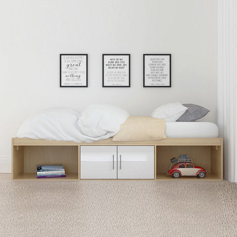 White Low Sleeper Cabin Bed with Storage Cupboards