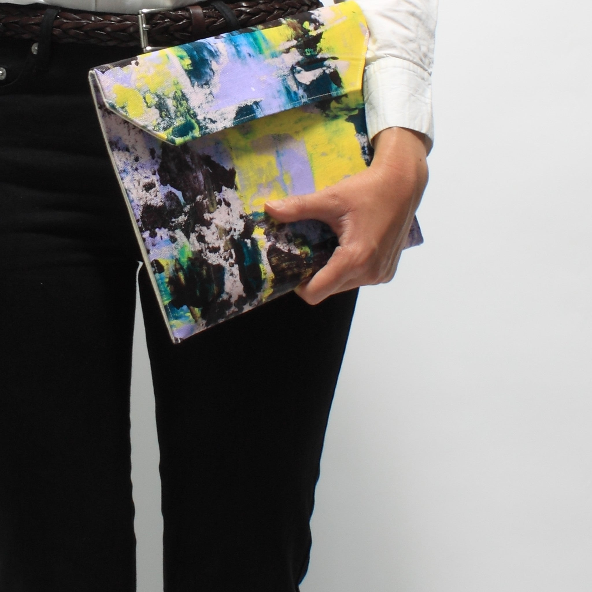 Hand Painted Big Purple Clutch