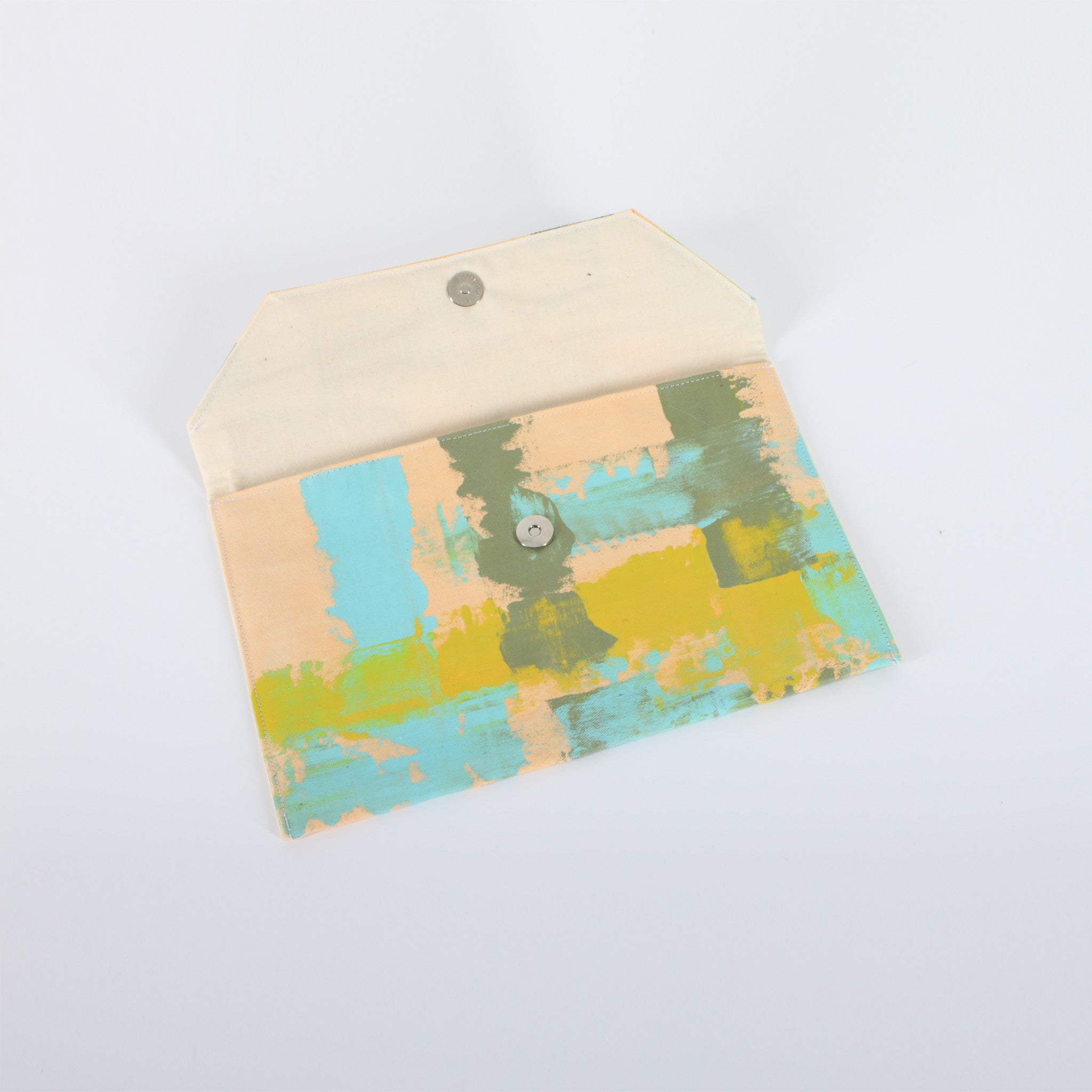 Hand Painted Big Pastel Lime Clutch