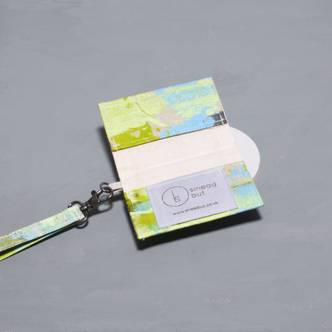 Hand Painted Pastel Lime Card Holder