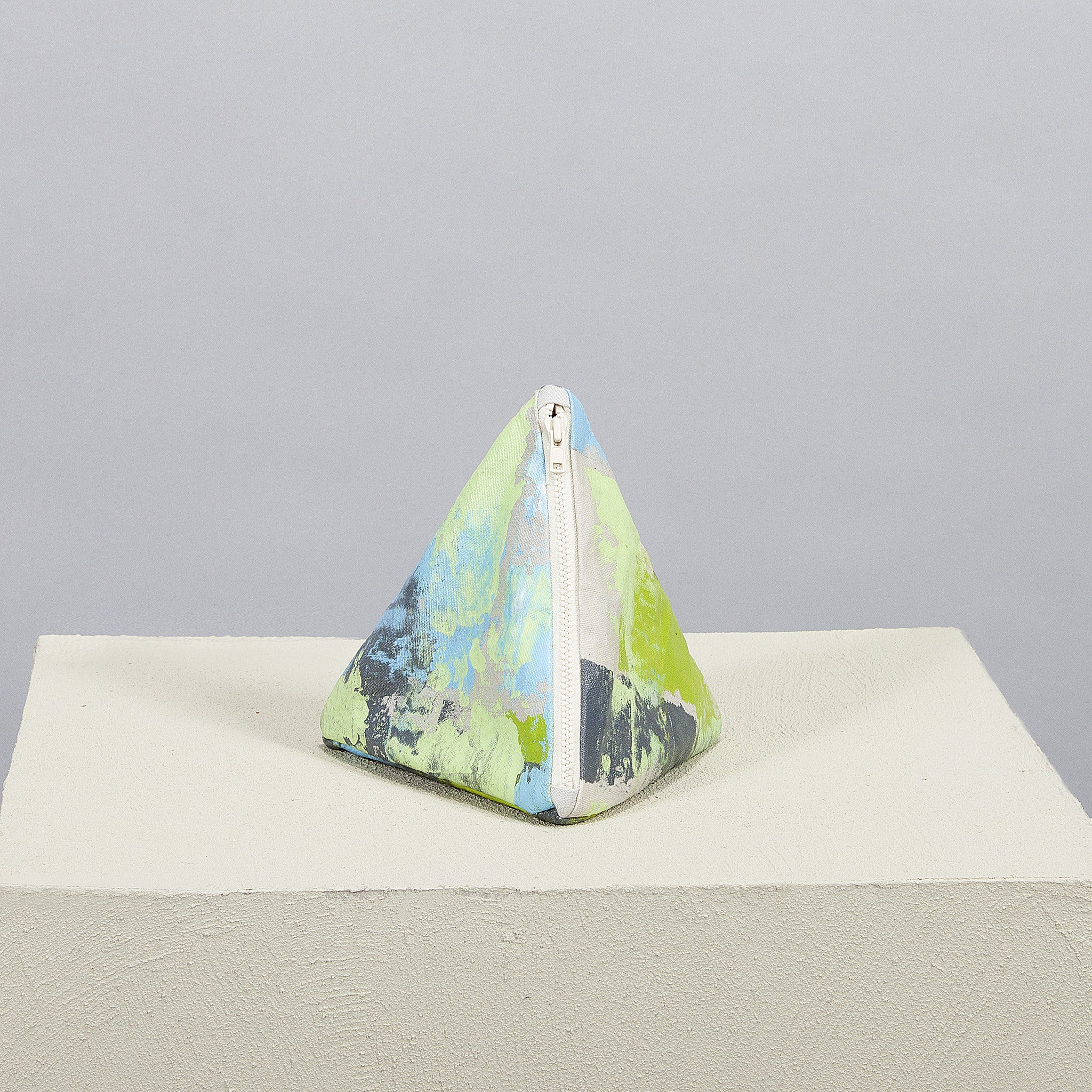 Hand Painted Pastel Lime Pyramid Clutch
