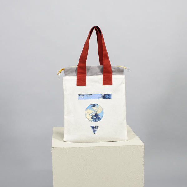 'Cut out' flat tote - white