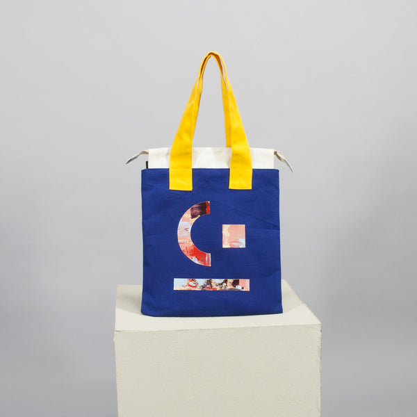 'Cut out' flat tote - blue
