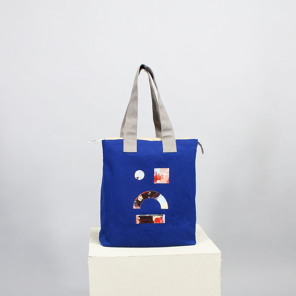'Cut out' square tote - blue