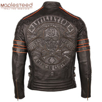 Black Embroidery Skull Motorcycle Leather Jackets 100% Natural Cowhide Moto Jacket Biker Leather Coat