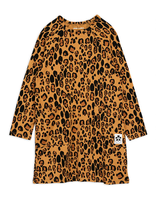 MINI RODINI Basic leopard long sleeve dress