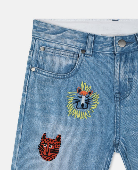STELLA MCCARTNEY KIDS Embroidered Cats Boyfriend Denim Pants