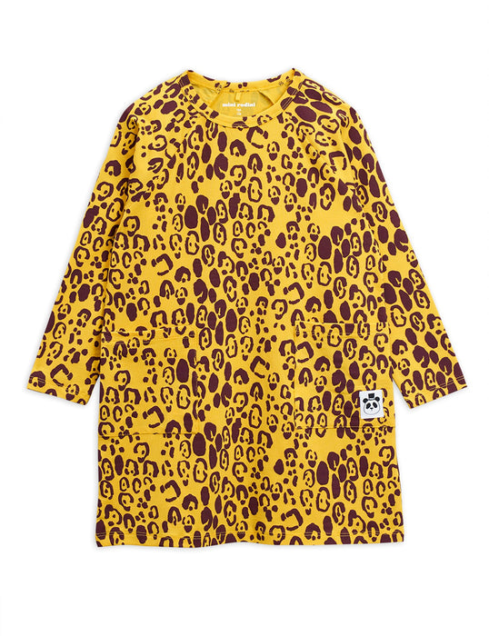 MINI RODINI Basic leopard long sleeve dress yellow