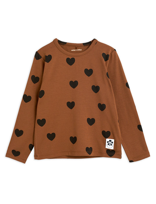 MINI RODINI Hearts ls tee brown