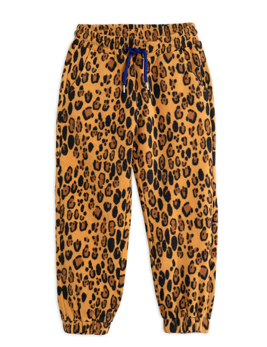 MINI RODINI Fleece leopard trousers