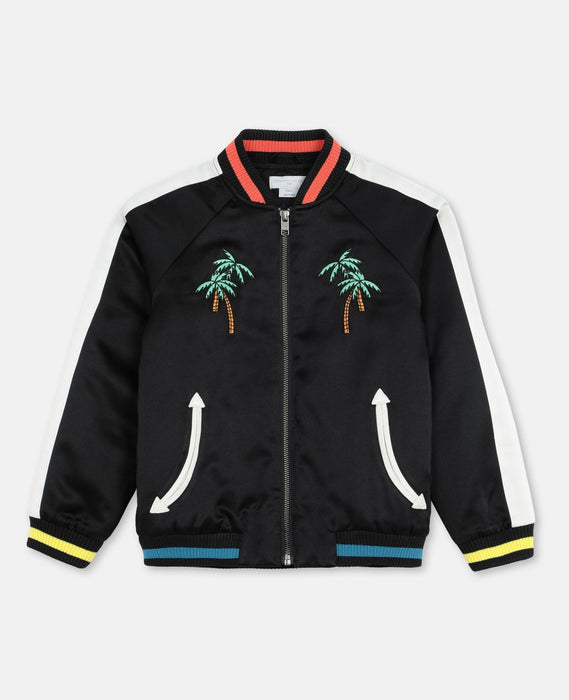 STELLA MCCARTNEY KIDS Embroidered Palms Satin Bomber