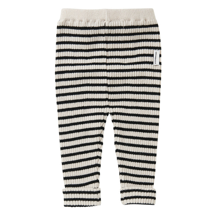 MINGO Knit Baby Pants Stripes White / Black