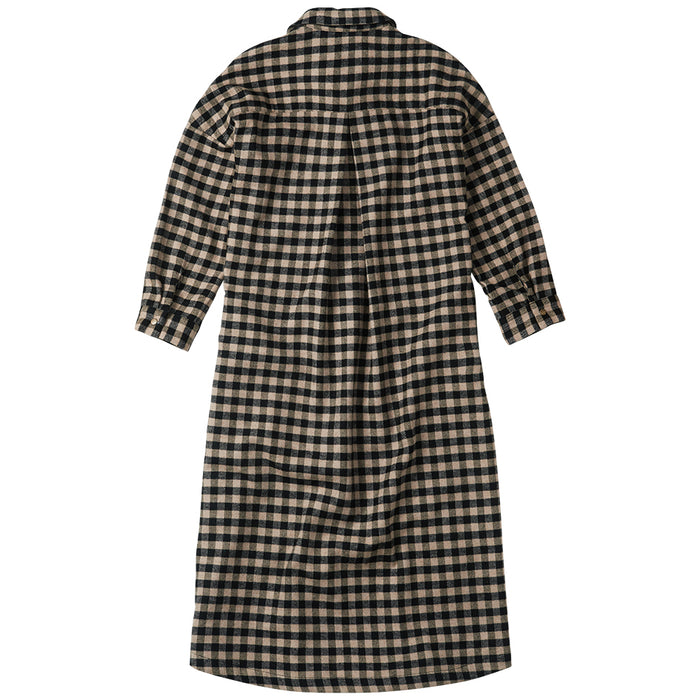 MINGO Oversized check flannel shirt dress