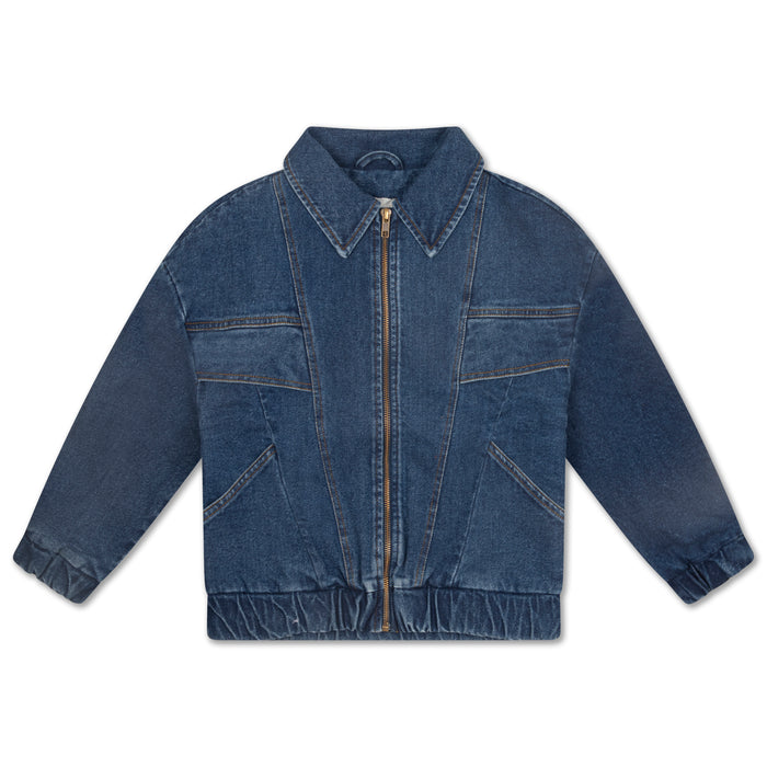 REPOSE AMS. Collar Bomber - denim blue