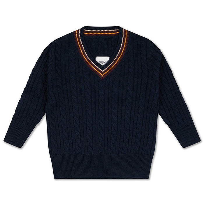 REPOSE AMS. Knit v-neck sweater - NAVY BLUE