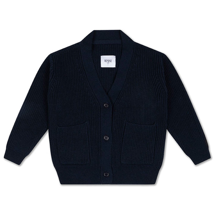 REPOSE AMS. Knit grandpa cardigan - NAVY BLUE
