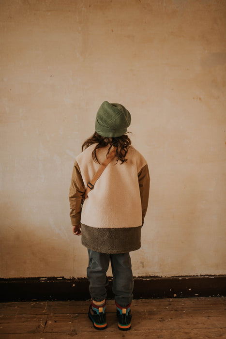 REPOSE AMS. Teddy bomber coat - KHAKI COLOR BLOCK