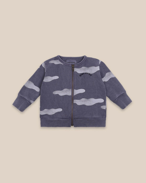 BOBO CHOSES - Baby Clouds all over purple zipped sweater