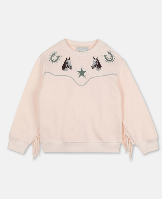 STELLA MCCARTNEY KIDS Horses & Fringes Cotton Sweatshirt