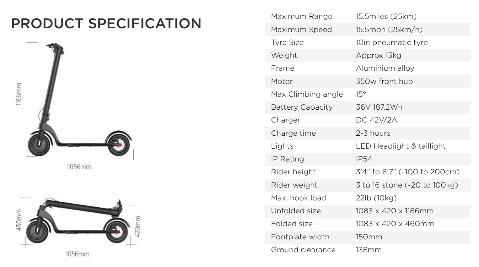 Decent X7 Electric Scooter - 350W / 5Ah / 10 mile range