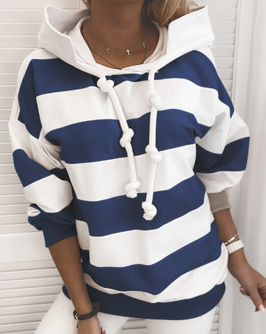 Striped Tape Colorblock Hooded Sweatshirt (Blue/White)