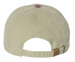 Pigment Dyed Embroidered Logo Baseball Cap (Khaki/Navy)