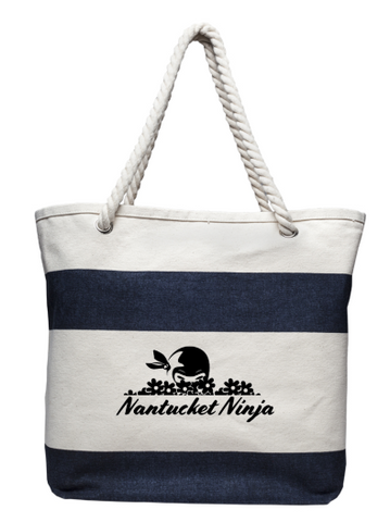Rope Handle Logo Beach Tote (White/Blue)