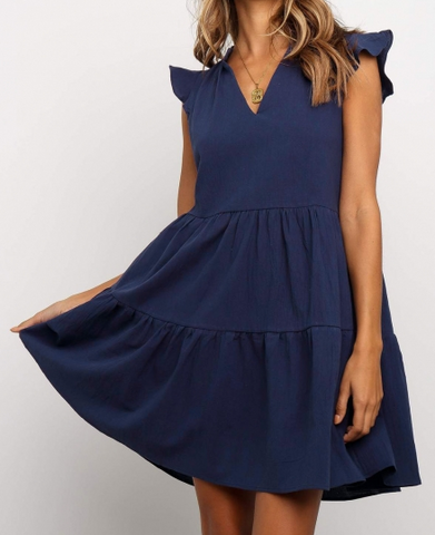 Short Ruffled Sleeve V-Neck Lightweight Dress (Blue)